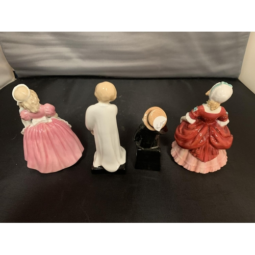 748 - FOUR ROYAL DOULTON FIGURES - COOKIE, VALERIES, CAPTAIN CUTTLE AND DARLING...