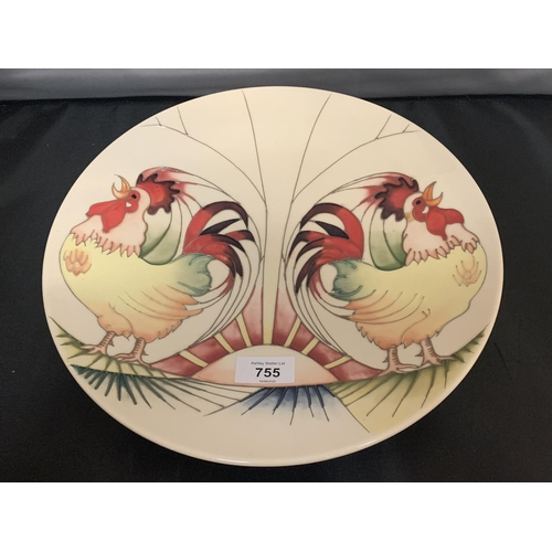 755 - A MOORCROFT 12 INCH PLATE 'GOOD MORNING ROOSTERS'...