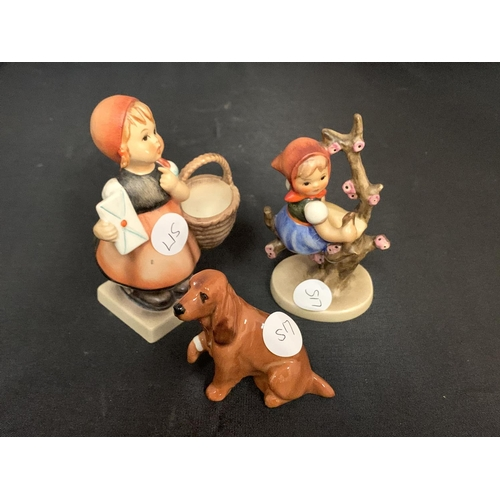 763 - TWO GOEBEL FIGURES AND A ROYAL DOULTON DOG...