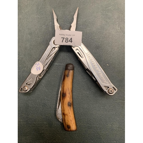 784 - A LEATHERMAN WINGMAN MULTI TOOL AND A PENKNIFE...