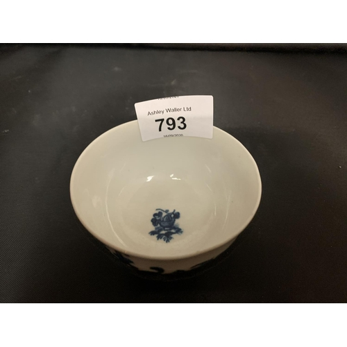 793 - A ROYAL WORCESTER 18TH CENTURY CHINESE BLUE AND WHITE DISH WITH BLUE CRESCENT MOON HALLMARK...