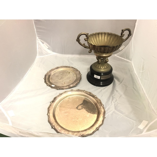 413 - AN EPNS WORLD CHAMPIONSHIP SHOOTING TROPHY DATED 1997, HEIGHT 33CM AND TWO FURTHER EPNS SHOOTING TRO...