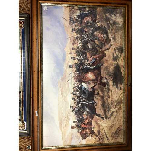 417 - AN ALL RANKS MIRROR AND A PRINT OF THE CHARGE OF THE LIGHT BRIGADE...