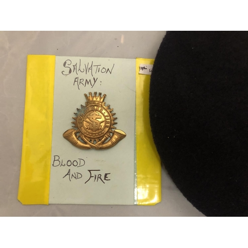 421 - SALVATION ARMY CAP BADGE AND A BLACK BERET WITH ROYAL WELSH FUSILIERS BADGE...