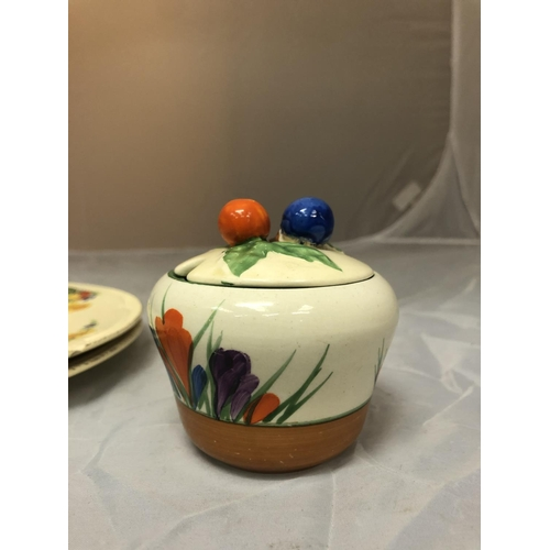 623 - A CLARICE CLIFF HAND PAINTED BIZARRE POT AND COVER IN CROCUS PATTERN, WITH TWO FURTHER CLARICE CLIFF...