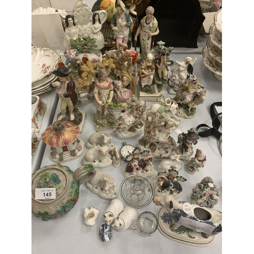 145 - A LARGE SELECTION OF CERAMICS TO INCLUDE STAFFORDSHIRE  POTTERY...