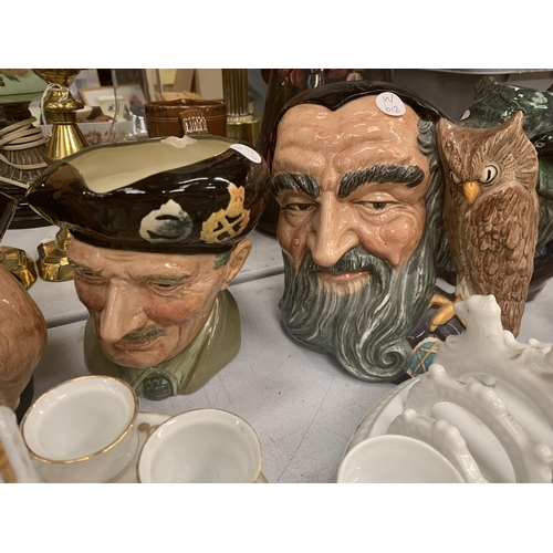 147 - A COLLECTION OF CHARACTER JUGS INCLUDING LONG JOHN SILVER AND THE MAD HATTER...