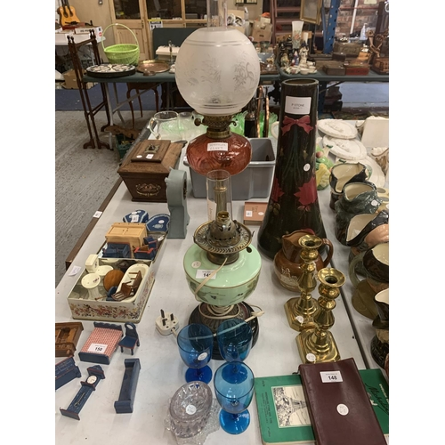149 - TWO BRASS OIL LAMPS AND GLASS ITEMS...
