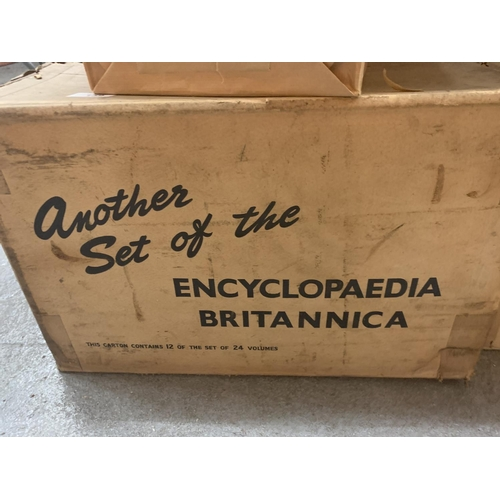 159 - TWO BOXES OF HARD BACKED ENCYCLOPEDIA BRITANNICA, UNOPENED AND EACH VOLUME PRESERVED IN BROWN PAPER...