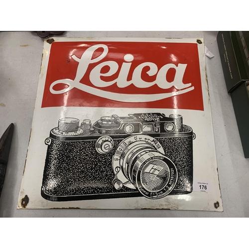 176 - AN ENAMEL LEICA ADVERTISING SIGN...