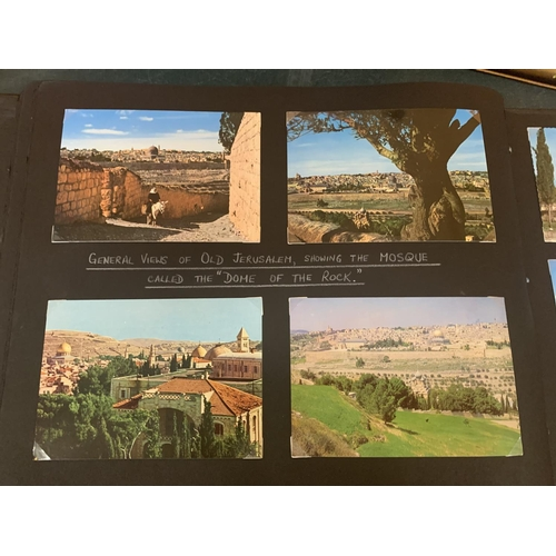 195 - AN ALBUM CONTAINING PICTURES AND POSTCARDS DEPICTING THE JOURNEY TO ISRAEL...