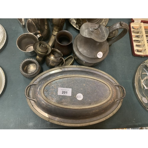 201 - VARIOUS ITEMS OF METALWARE, EPNS AND PEWTER TO INCLUDE LIDDED DISHES, TANKARDS ETC...