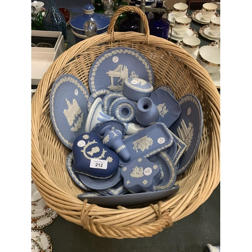 212 - A BASKET OF NUMEROUS BLUE AND WHITE WEDGEWOOD JASPERWARE ITEMS...