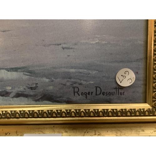 220 - A ROGER DESOUTTER COATED AND FRAMED PRINT 'SUNSET AT SANDSEND BEACH'...