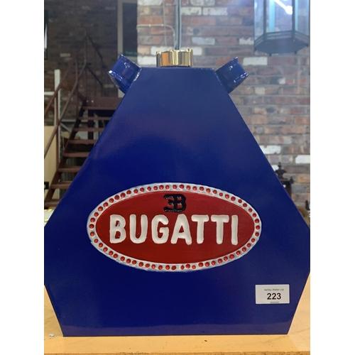 223 - A BLUE BUGATTI PETROL CAN...
