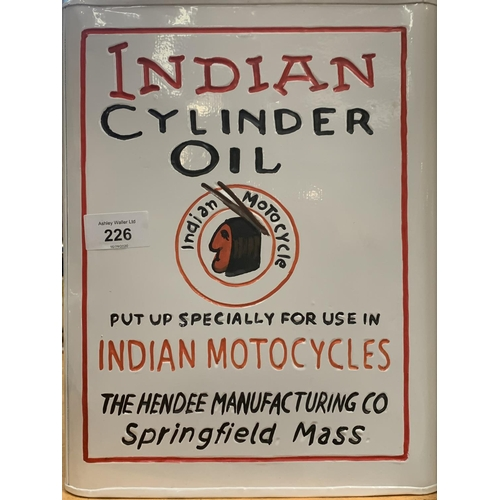 226 - A WHITE INDIAN CYLINDER METAL PETROL CAN...