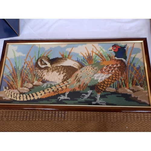980 - A FRAMED TAPESTRY OF COCK AND HEN PHEASANT...