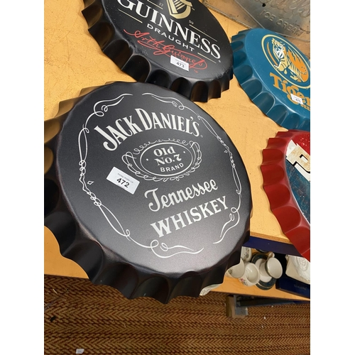 472 - A VINTAGE STYLE GARAGE RETRO JACK DANIELS HANGING WALL WHISKEY BOTTLE TOP 35CM...