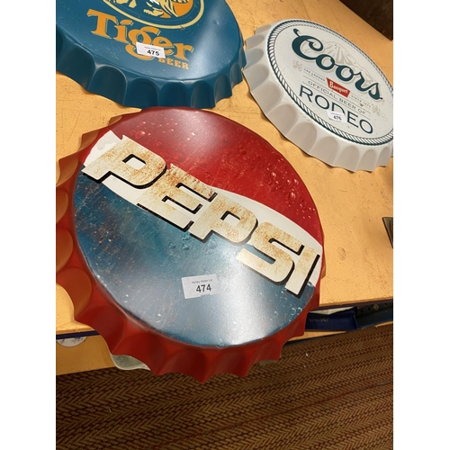 474 - A VINTAGE STYLE GARAGE RETRO PEPSI COLA HANGING WALL BOTTLE TOP DISPLAY SIGN 35CM...