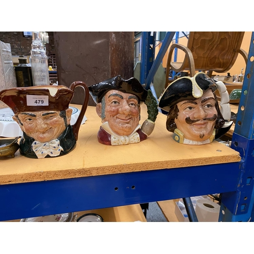 479 - A GROUP OF THREE ROYAL DOULTON CHARACTER JUGS - CAPTAIN HENRY MORGAN, OLD CHARLEY AND MINE HOST...