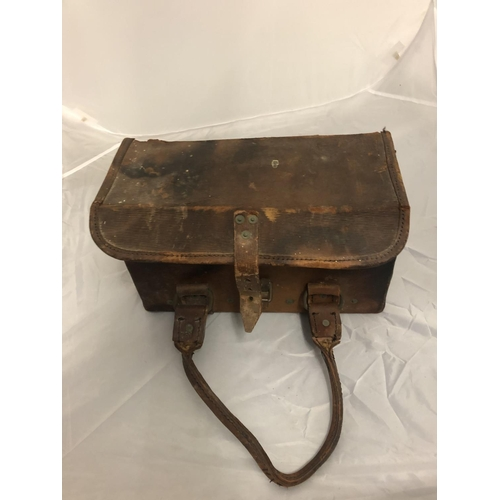 431 - A BROWN LEATHER MILITARY BOX DATED 1954...