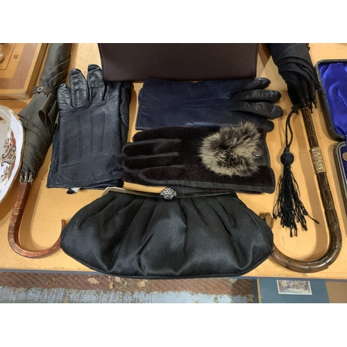 241 - AN ASSORTMENT OF VINTAGE LADIES ACCESSORIES TO INCLUDE FORMAL HANDBAGS, GLOVES ETC...