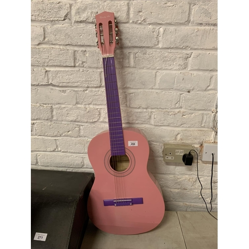 266 - A PINK AND PURPLE ACOUSTIC GUITAR...