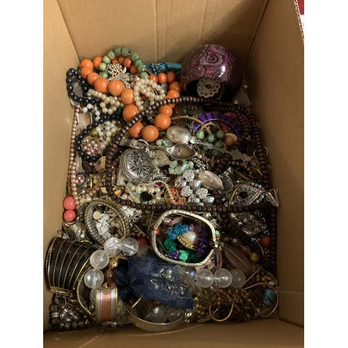 275 - A LARGE ASSORTMENT OF COSTUME JEWELLERY INCLUDING POCKET WATCH ETC...