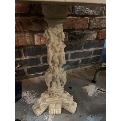 287 - A CARVED ORIENTAL PEDESTAL/TABLE IN RESIN...