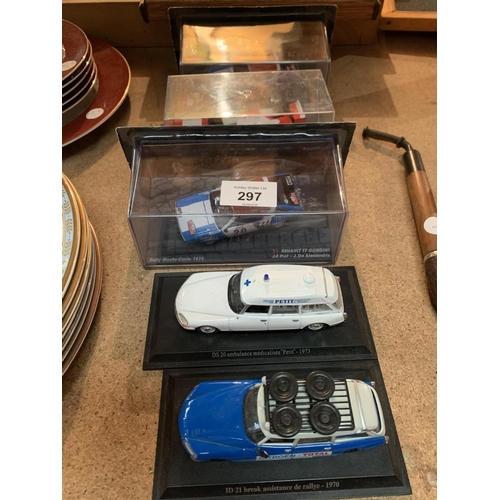 297 - FIVE DIE CAST CARS TO INCLUDE THREE IN CASES...