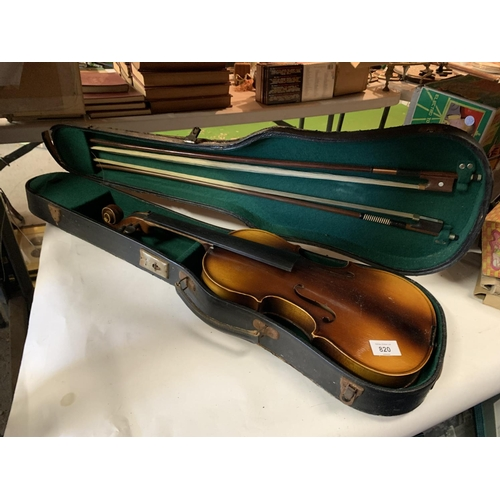 820 - A CASED VIOLIN AND TWO BOWS...