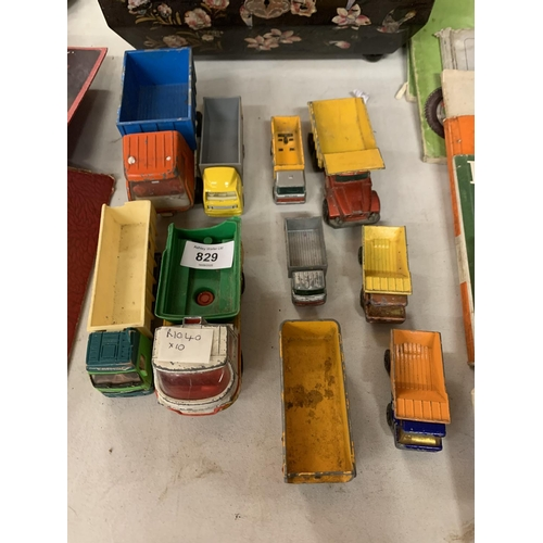 829 - A COLLECTION OF TEN VINTAGE TOY LORRIES...