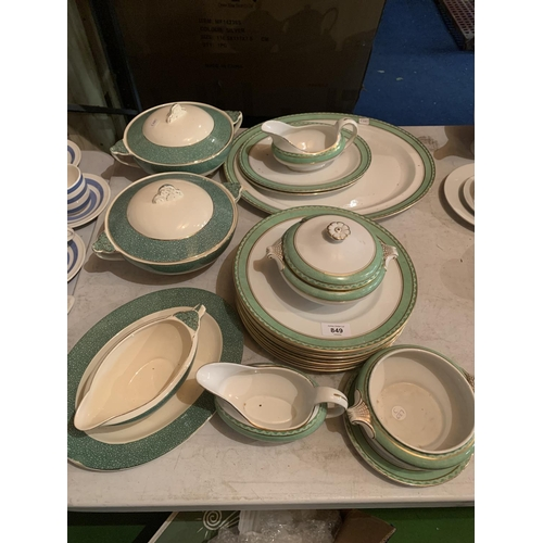 849 - A SILICON CHINA DINNER SERVICE WITH TUREENS, MEAT PLATE ETC...