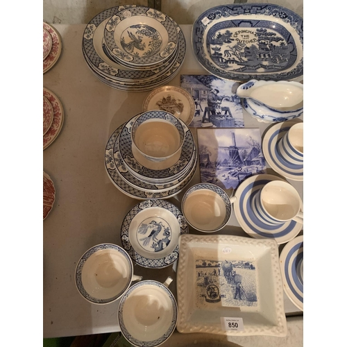 850 - A LARGE COLLECTION OF BLUE AND WHITE CHINA TO INCLUDE DELFT WINDMILL FLASK, WOOD & SONS YUAN, GARRIG...