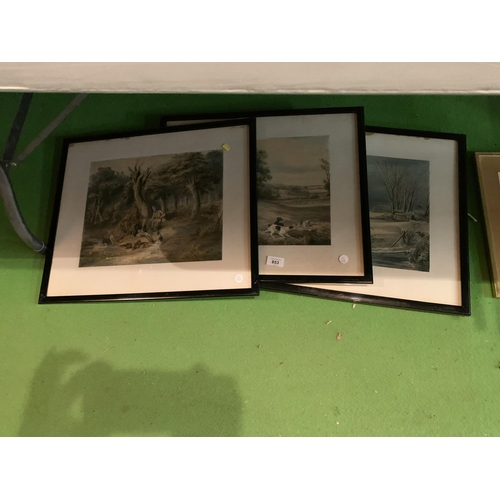 853 - SEVERAL LARGE FRAMED PRINTS OF HUNTING SCENES, BOATS IN HARBOUR,  SET OF SIX PRINTS WITH IMAGES OF N...