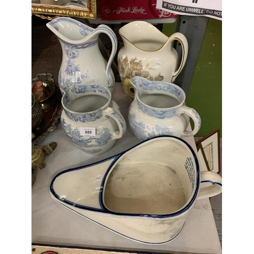 889 - TWO LARGE WATER JUGS, TWO MEDIUM BLUE AND WHITE WATER JUGS AND A VINTAGE CERAMIC BED PAN...