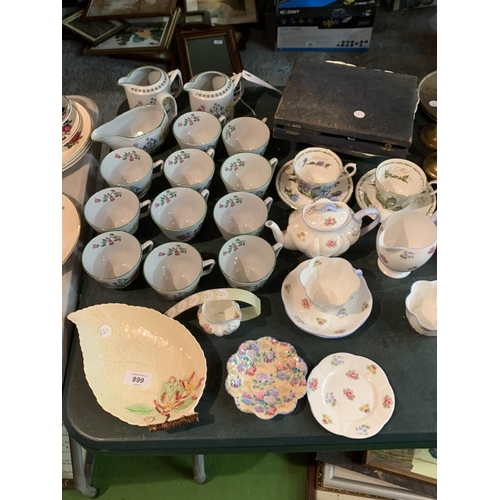 899 - AN ASSORTMENT OF CERAMICS TO INCLUDE SPODE AND CARLTONWARE...