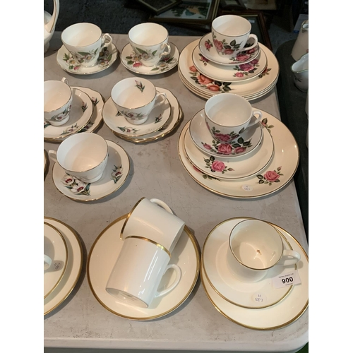 900 - A LARGE SELECTION OF CHINA CUPS SAUCERS AND PLATES TO INCLUDE A LARGE PARAGON COFFEE POT...