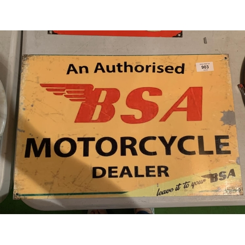 903 - A BSA METAL ADVERTISING SIGN FOR THE MOTORCYCLE DEALERSHIP...