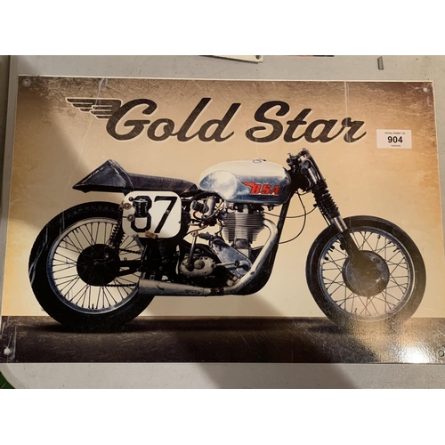 904 - A METAL SIGN FOR A BSA GOLD STAR MOTORBIKE...