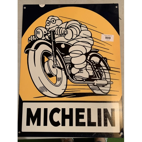 909 - A RECTANGULAR BLACK AND YELLOW METAL MICHELIN SIGN...
