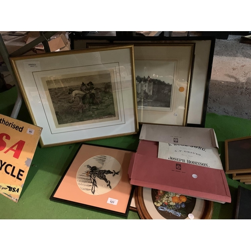 921 - A SELECTION OF PICTURES AND SHEET MUSIC...