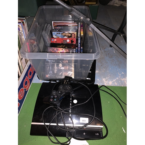 951 - A SONY PS 3 WITH A QUANTITY OF GAMES...