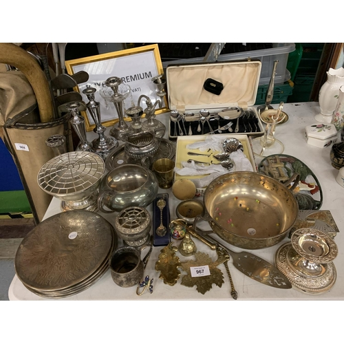967 - A LARGE COLLECTION OF EPNS, BRASSWARE ETC...