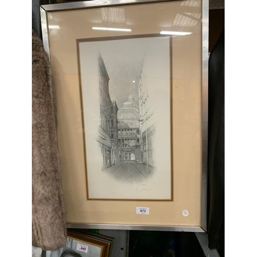 973 - A LIMITED EDITION SIGNED GELDART PRINT 52/250 OFF ST ANNES SQUARE, MANCHESTER...