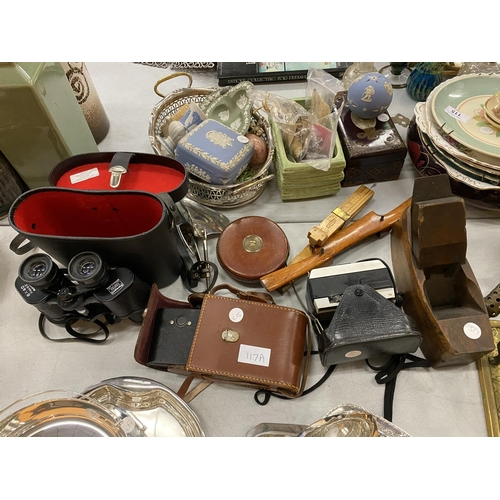 117A - VARIOUS VINTAGE ITEMS TO INCLUDE BINOCULARS, BRASS BLOW LAMP ETC...