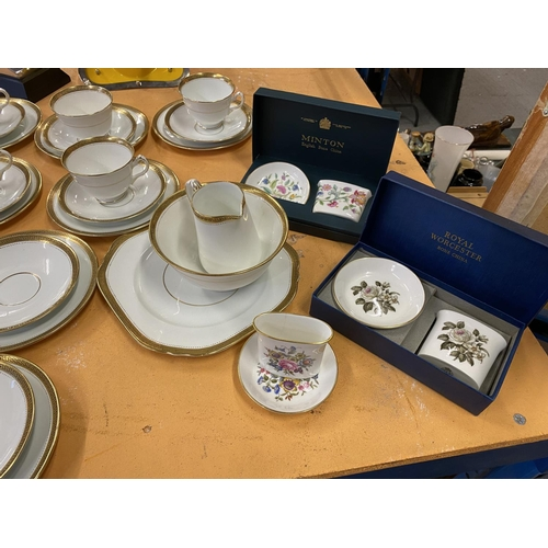 811 - A LARGE COLLECTION OF TEAWARES TO INCLUDE COURT CHINA, SHELLY AND TWO BOXED WORCESTER AND MINTON PIE...