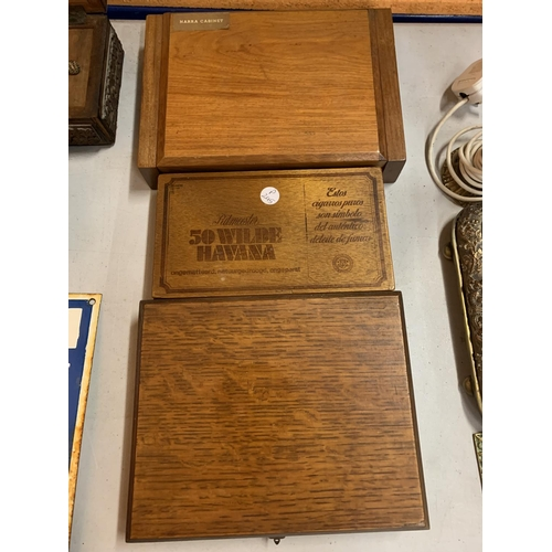 48 - THREE WOODEN BOXES TO INCLUDE TWO CIGAR BOXES...