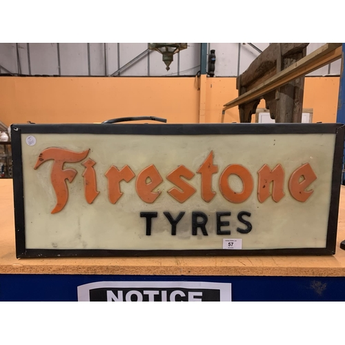 57 - A 'FIRESTONE TYRES' LIGHTBOX ADVERTISING SIGN...