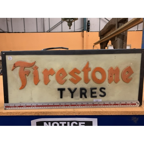 57 - A 'FIRESTONE TYRES' LIGHTBOX ADVERTISING SIGN